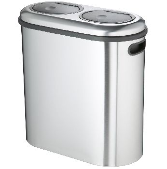 Brushed Stainless Steel Duo Double Twin Two Compartment 40 Litre Oval Recycle Touch Home Recycling Bins