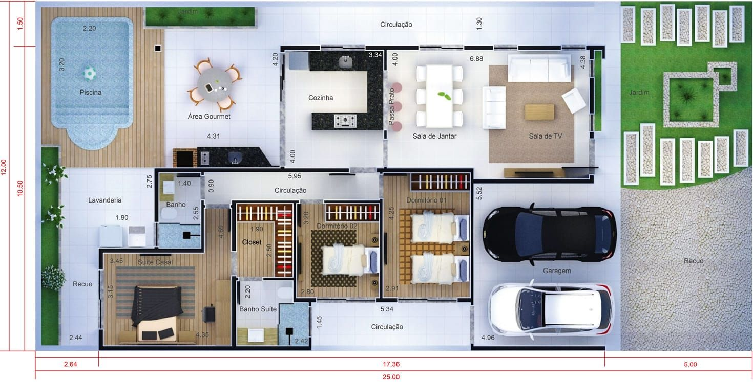 Projeto De Casa T Rrea Com 3 Quartos Planta Para Terreno 12×25