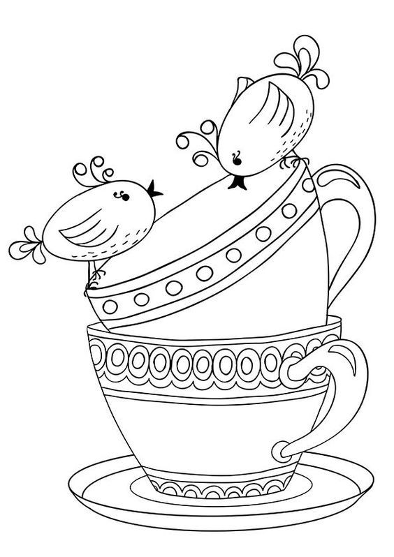 Embroidery Pattern Of Tea Cups And Birdies No Link Jwt Coloring