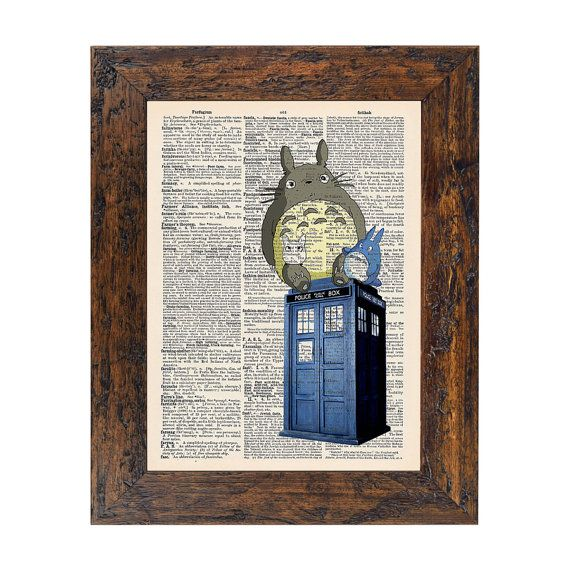 @Cuong Nguyen  Totoros on the Tardis Doctor Who Original Print on Unframed Upcycled Bookpaper