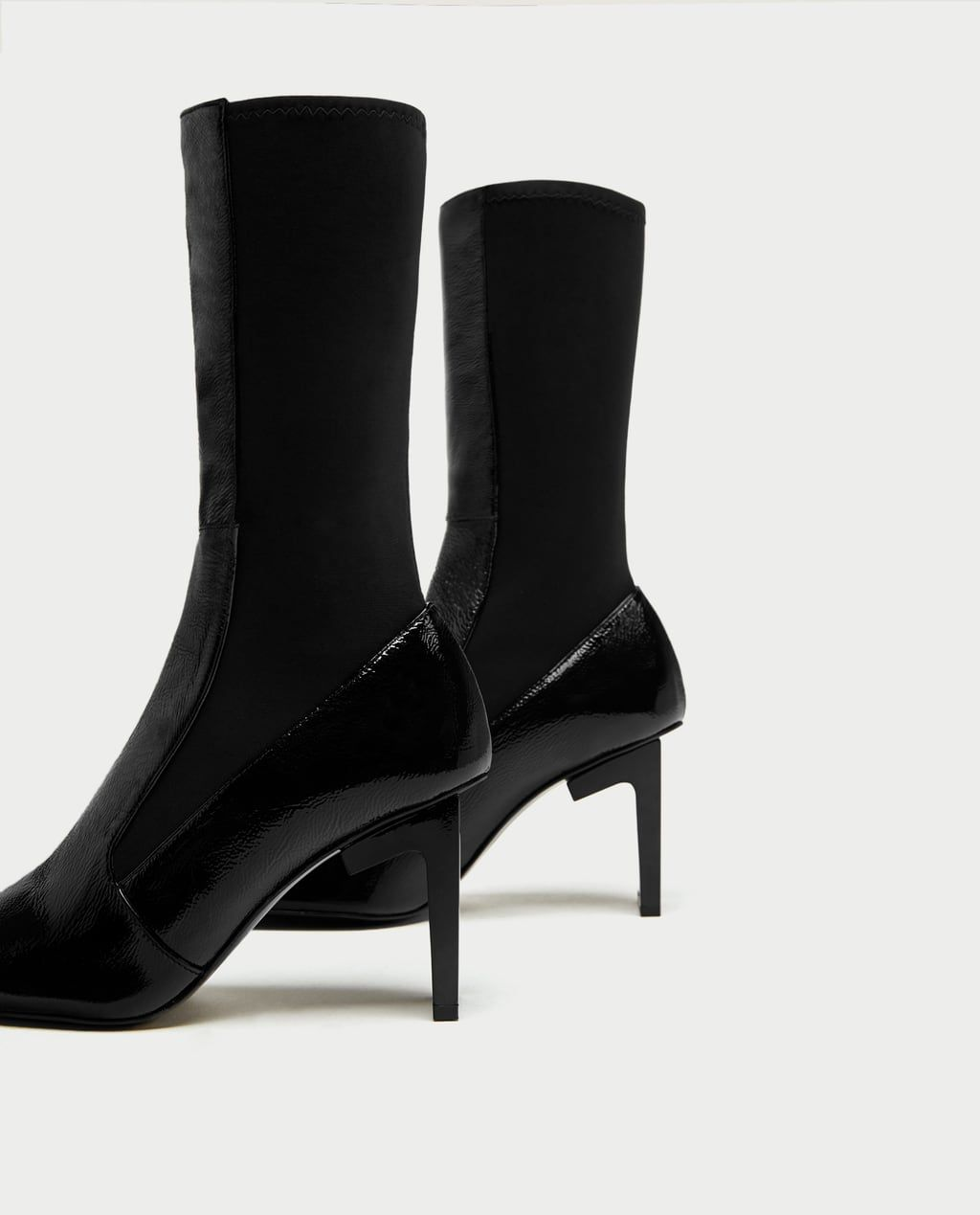 547d30b589e SQUARE TOED HIGH HEEL LEATHER ANKLE BOOTS-View all-SHOES-WOMAN-SALE ...