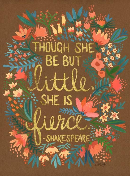 Though she be but little she is fierce motivationmonday print inspirational black white poster motivational quote inspiring gratitude word art bedroom beauty happiness success motivate inspire