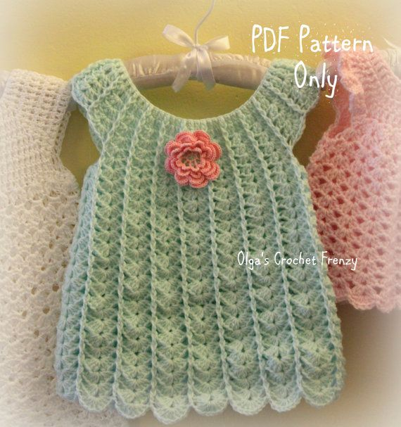 Shells Baby Dress Crochet Pattern Size 3 6 Por Olgascrochetfrenzy