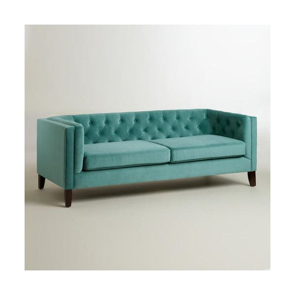 Cost Plus World Market Teal Kendall Velvet Sofa 525 Liked On Polyvore Featuring Home Furniture Sofas Blue Couch