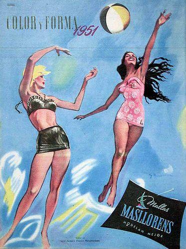 Masllorens Swimsuit vintage ad 1951  bathing suit, swimwear