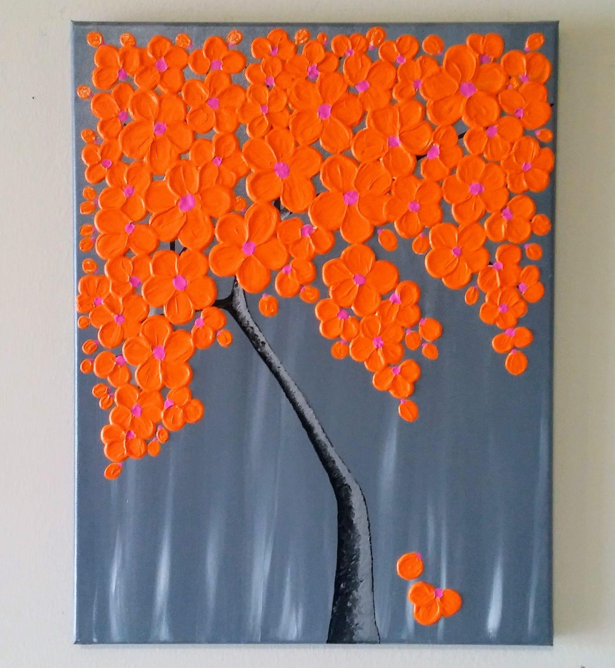 Original cherry blossom tree painting,textured wall art ...