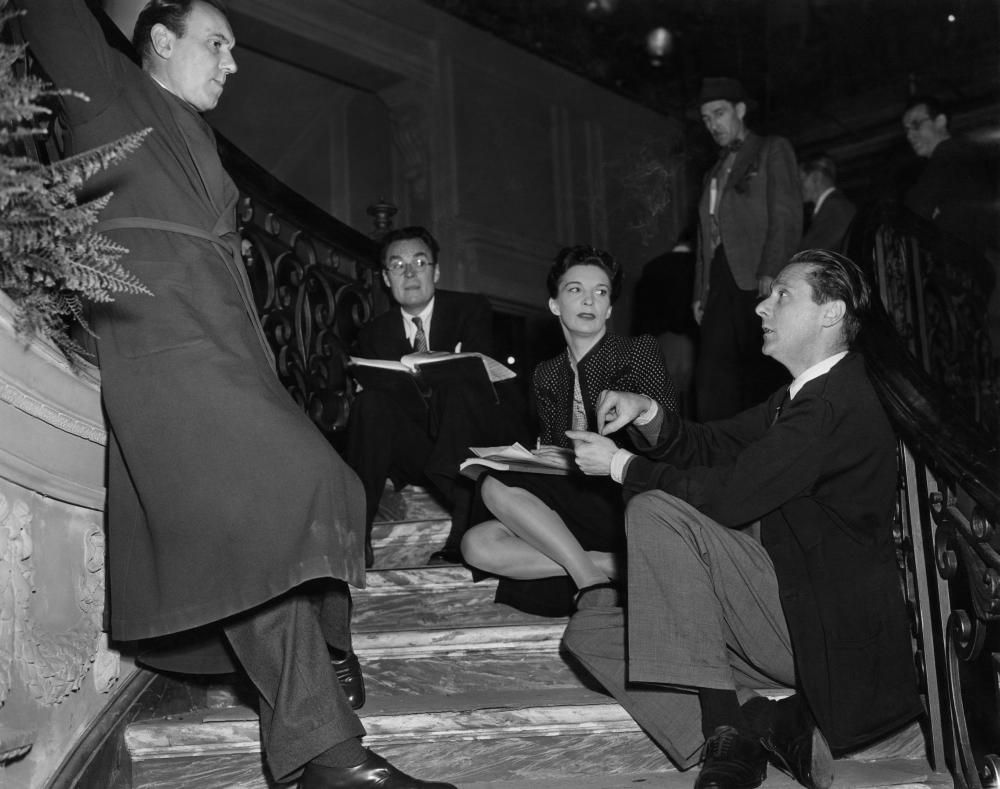 Ralph Richardson, ass. prod. Philip Brandon, Sonia Dresdel & director Carol Reed on set of The Fallen Idol, 1948.