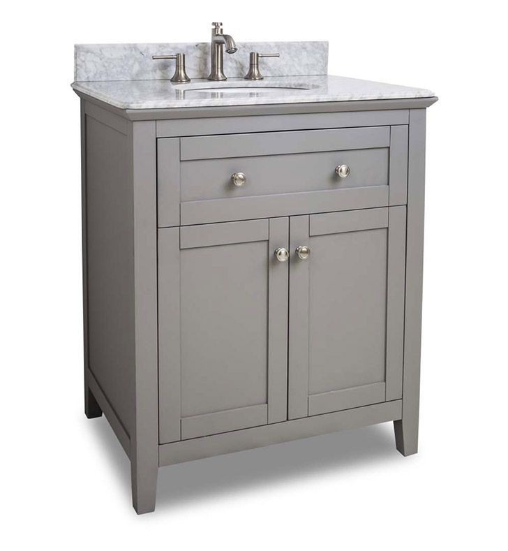 Ansen 30 inch bathroom vanity grey finish carrera white for Powder bathroom vanities