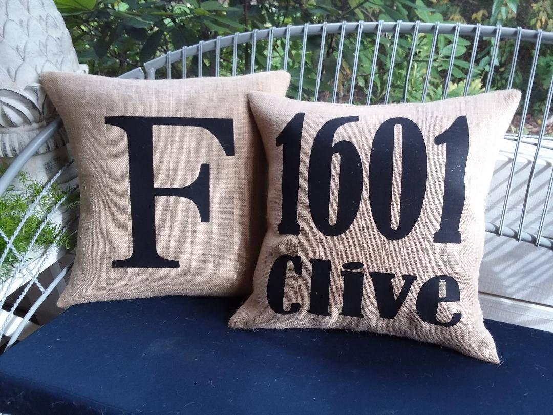 Outdoor Burlap Address Zip Code Letter Number Farmhouse Pillow