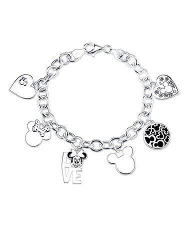 This Sterling Silver 'Love' Minnie Mouse Charm Bracelet is perfect! #zulilyfinds