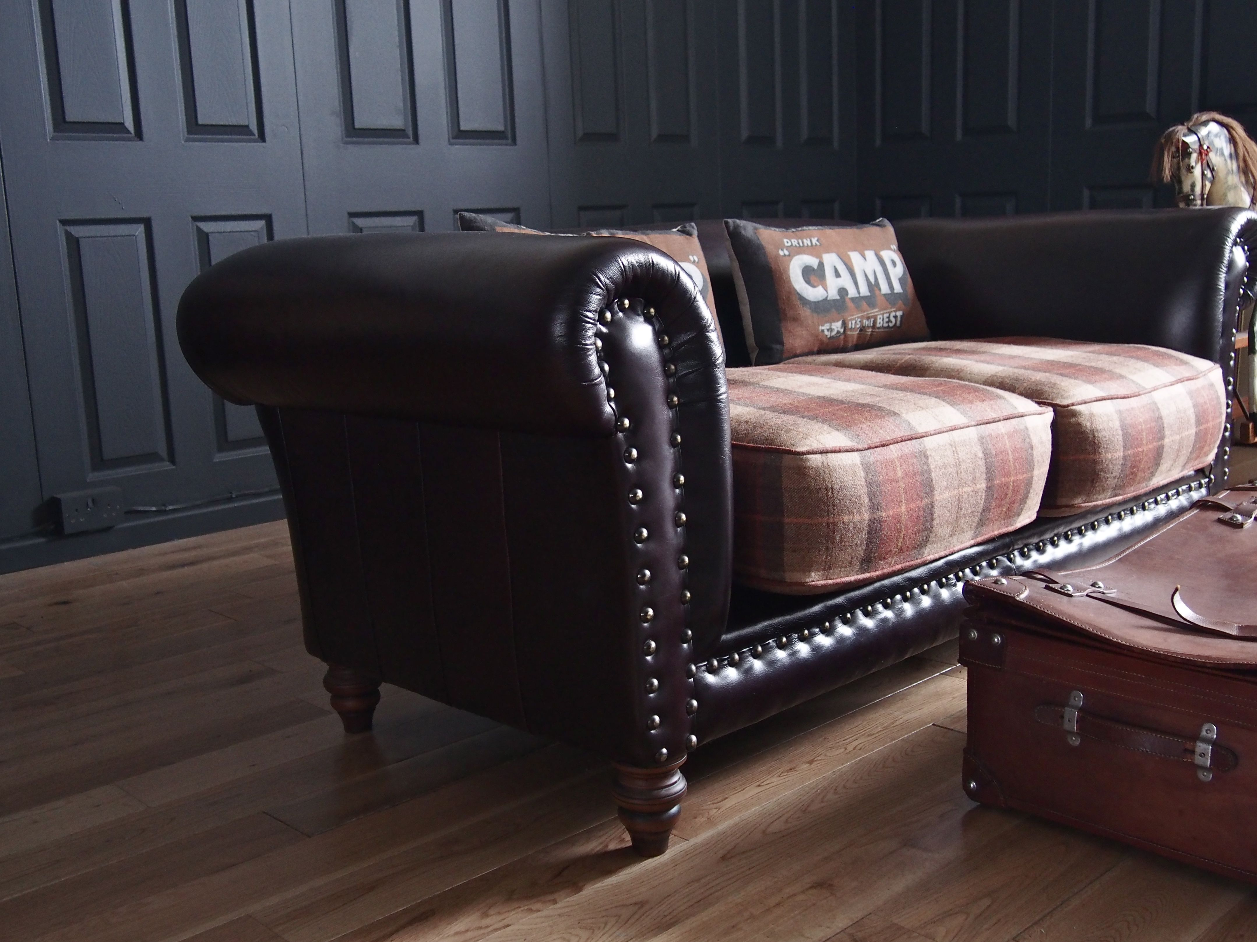 Re Upholstered Sofa In Tartan Plaid And Leather This Is Exactly What I Want To Do To My Two Leather Ar Brown Leather Sofa Decor Plaid Sofa Upholstered Couch