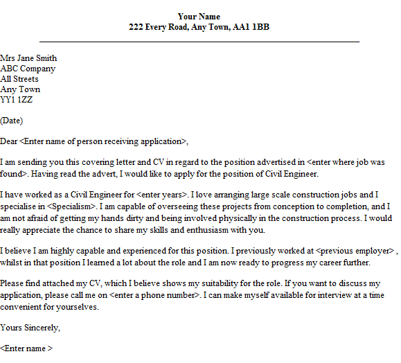 Product Development Cover Letter: Job Application Letter Sample For Civil Engineer