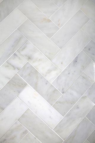 try this herringbone marble tile a beautiful mess bathroom splashback carrara