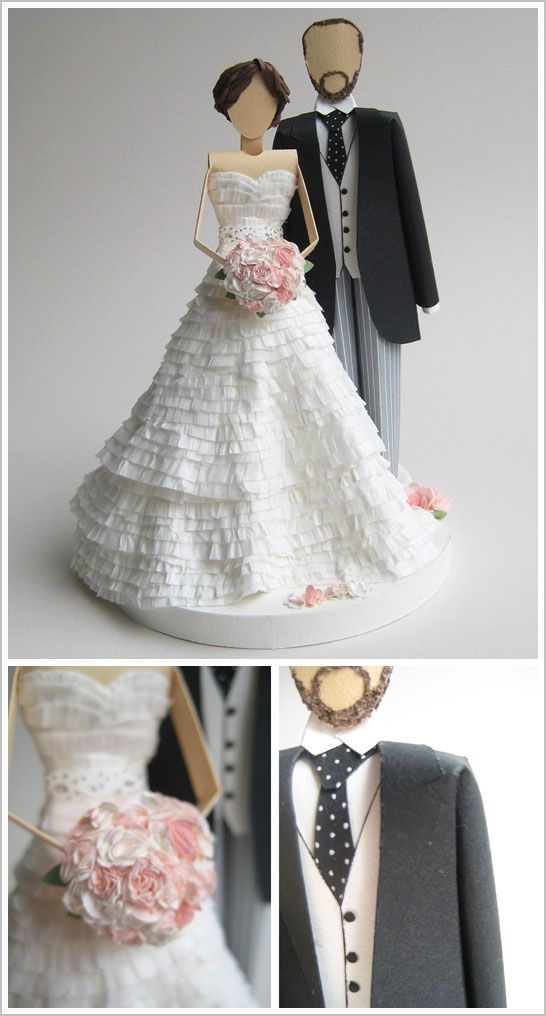 Paper Wedding Cake Toppers
