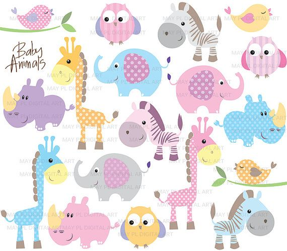 Baby Animals Clipart DIY Baby Shower Pastel Cute Elephant Giraffe ...
