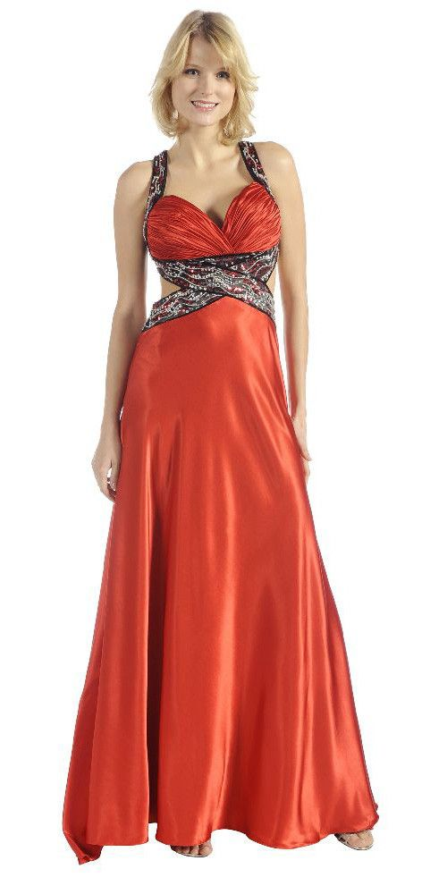 Red/Black Prom Dress Long Back Open Side Cuts Beads Sequin Waist ...