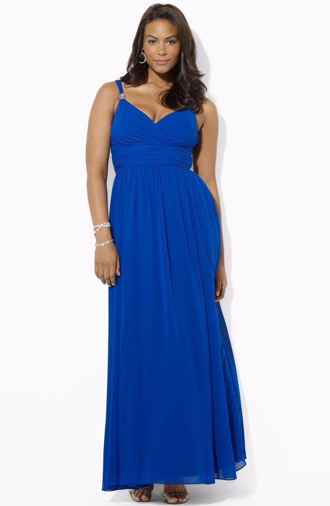 Ralph Lauren Blue Embellished Surplice Chiffon Evening Gown. Visit ...