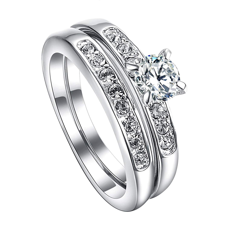 VOGEM Engagement Rings Set For Women 18K White Gold Plated