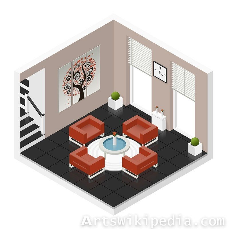 Vector Isometric Living Room With Images Hall Room Isometric