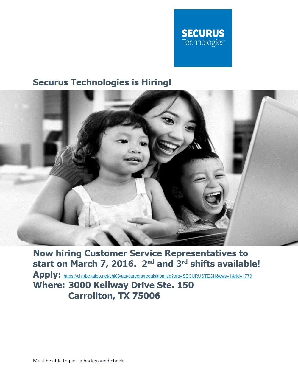 Securus Technologies is hiring Customer Service