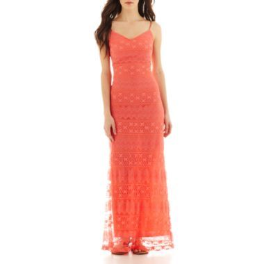 8b6b1b80bc21 Bisou Bisou Spaghetti Streap V-Neck Long Lace Dress - JCPenney Get Free  Shipping on All Orders  99 or More.