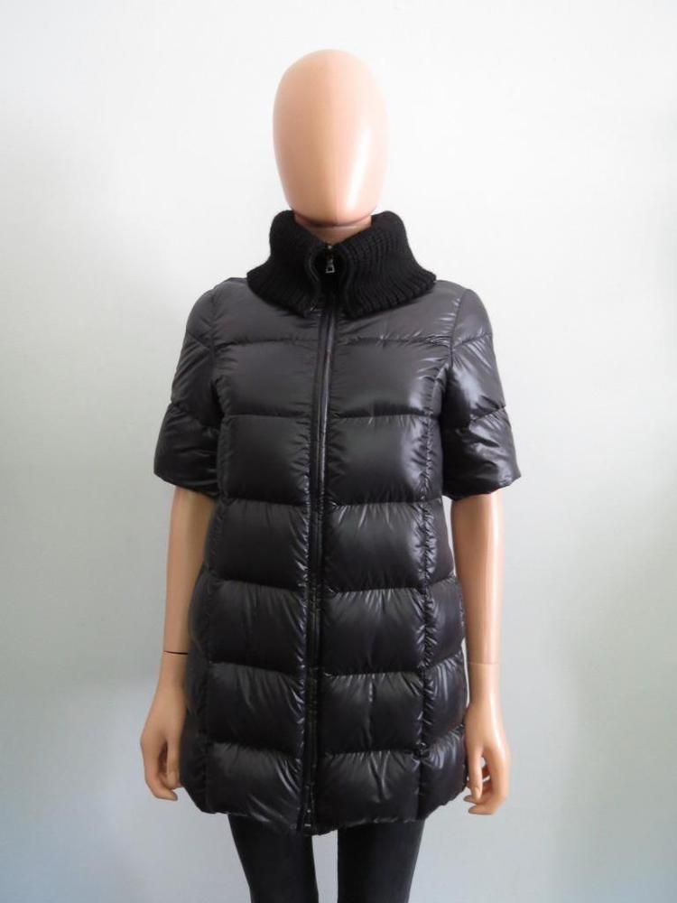 40708af26 Prada Black/Oyster Lined Short Sleeve Down Puffer Vest/Jacket ...
