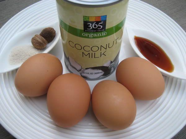 Primal Egg Nog.     4 beaten egg yolks 3 cups coconut milk, almond milk, or whole cream 1 teaspoon maple syrup or sugar 1 teaspoon vanilla extract ground nutmeg and cinnamon to taste