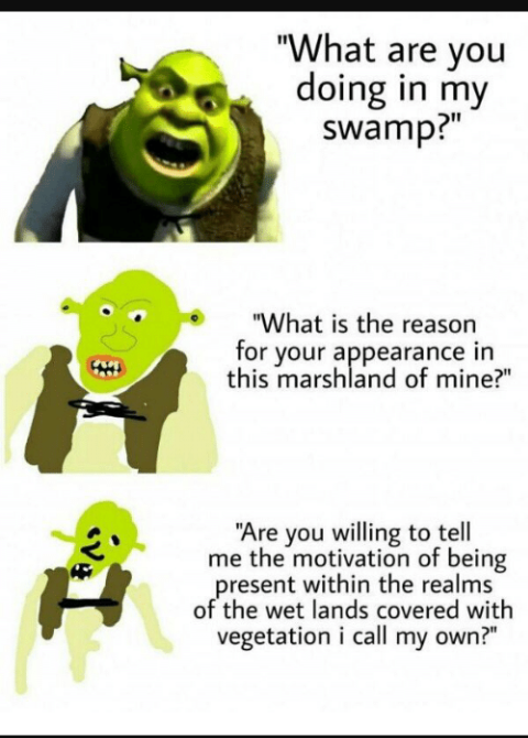 When People On Reddit Try To Act Like There Smarter Than You Shrek Memes Increasingly Verbose Memes Verbose Memes
