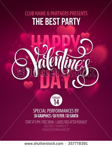 Valentines Day Party Poster Design. Template of invitation, flyer ...
