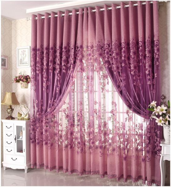 Living Room Curtains Swag Purple   Free-Shipping-C006-Curtains-For ...