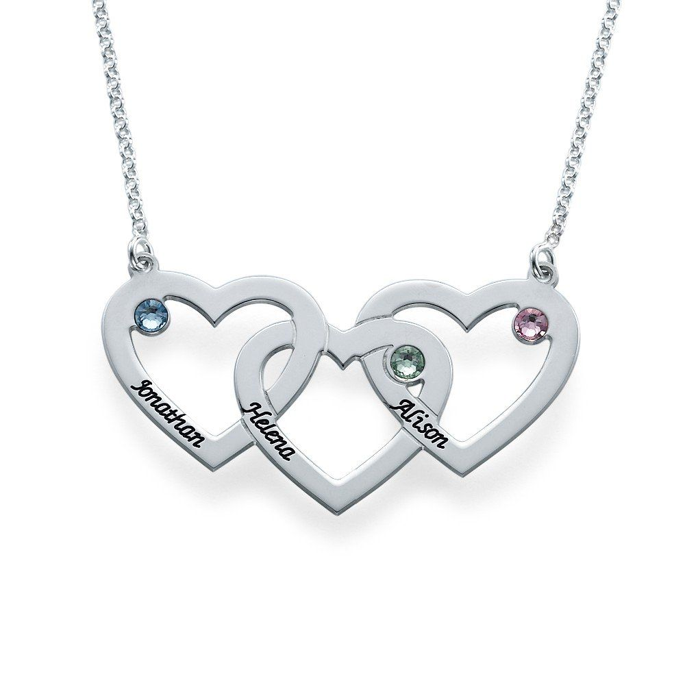 Intertwined Hearts Necklace with Birthstones - Custom Made with Any Name! (20 Inches)