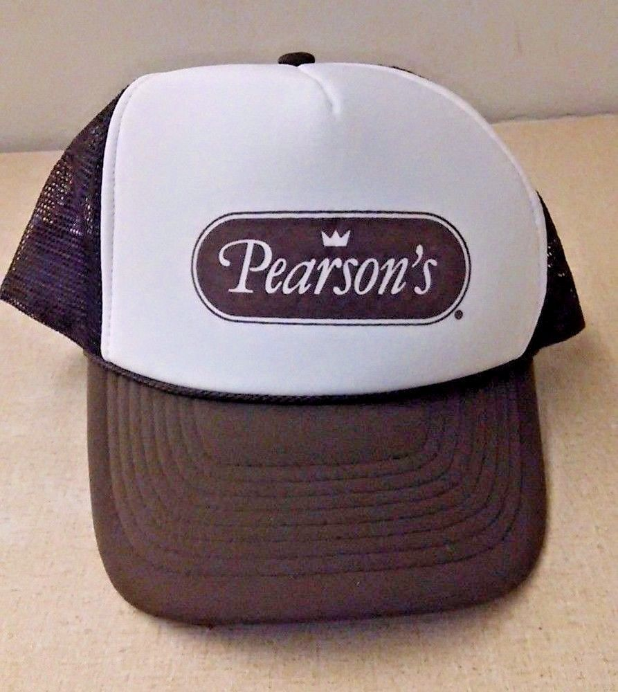VTG Pearson s Candy Mesh Snapback Trucker Hat NOS Brown Nut Roll Goodie  Nissun  Trucker 71b9ee633bb6