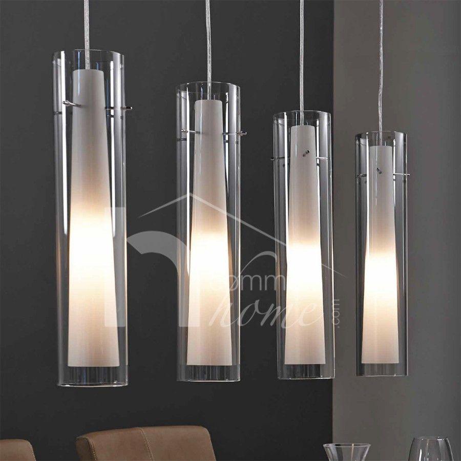 Luminaire suspension design en nickel chrom verre yona for Lampe suspension verre