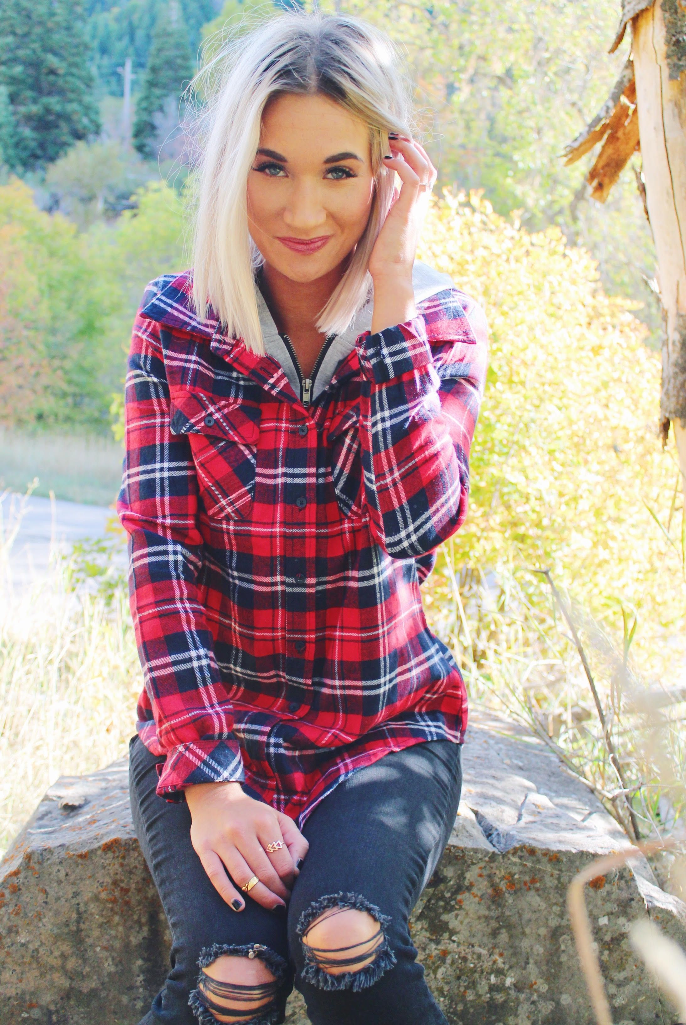 RED & NAVY PLAID HOODED FLANNEL-Pink Desert