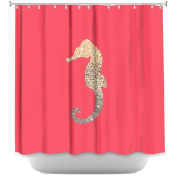 DiaNoche Designs Gatsby Gold Coral Seahorse By Monika Strigel Fabric Shower Curtain