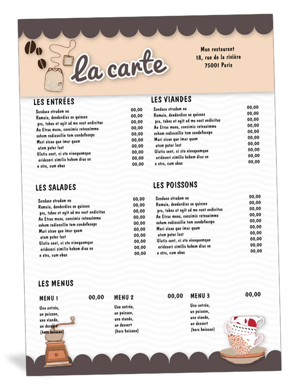 Carte De Menu Restaurant Salon De Thé Café Cartes De