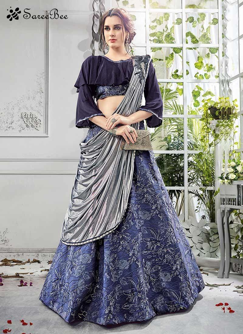 Grandiose jacquard silk navy blue lace work lehenga choli make the