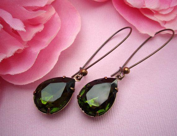 MARTINI Olive Earrings Bridesmaids Earrings by ParisienneGirl, $18.00