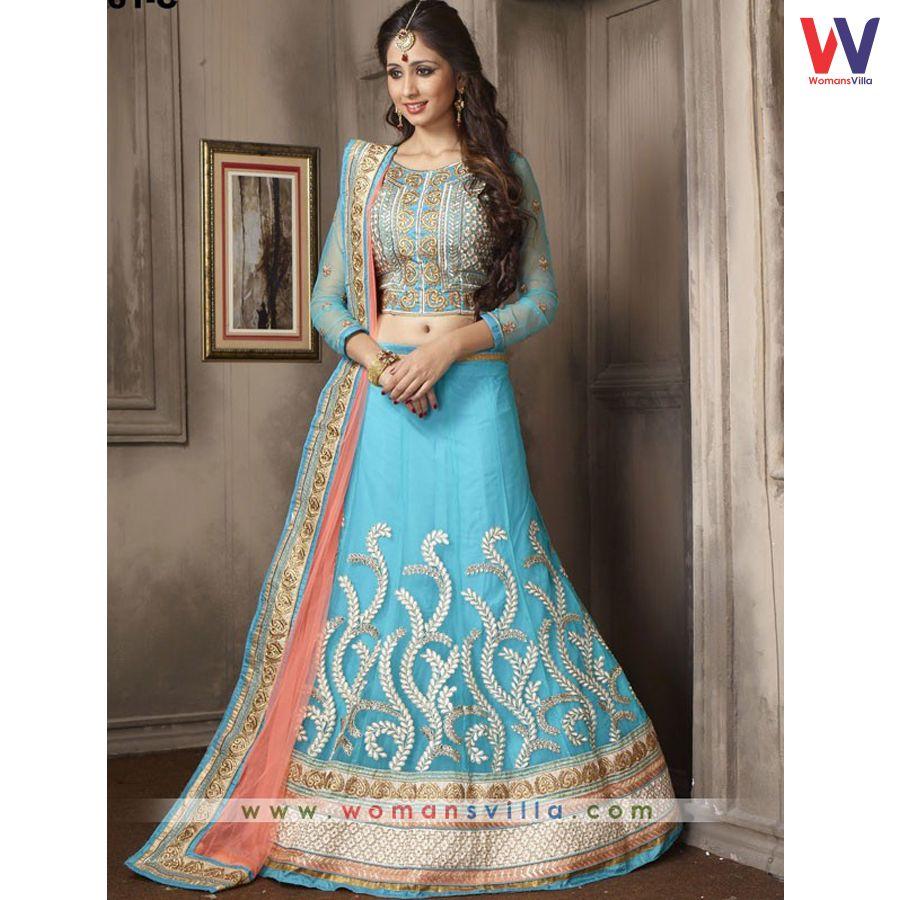 Vintage Blue Colored Net Designer Lehenga Choli#Womansvilla ...