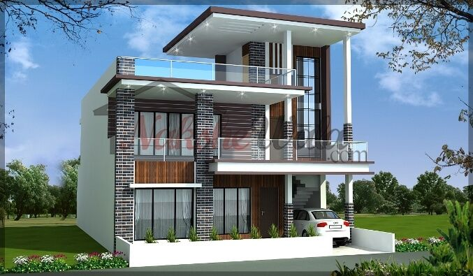 Modern front elevation of duplex house for Front elevations of duplex houses