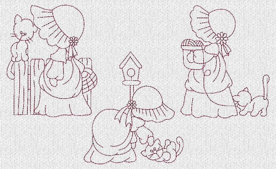 INSTANT DOWNLOAD Sunbonnet Sue and Kitties por embroiderygirl ...