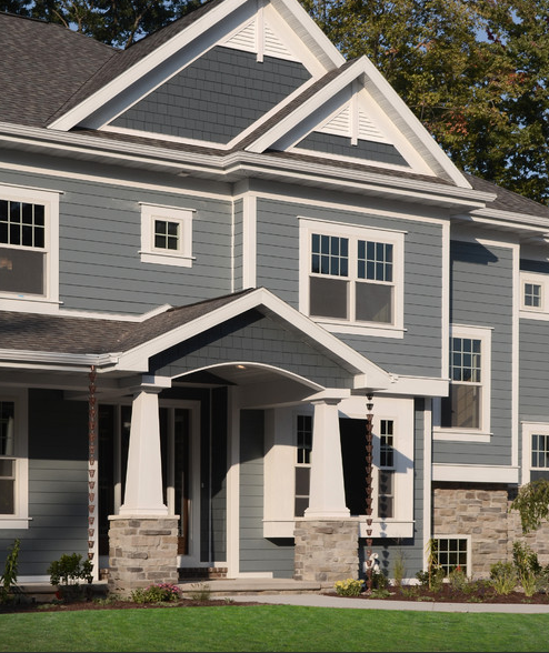 Hardie shingle boothbay blue our new home in 2019 - Best exterior paint for hardie siding ...