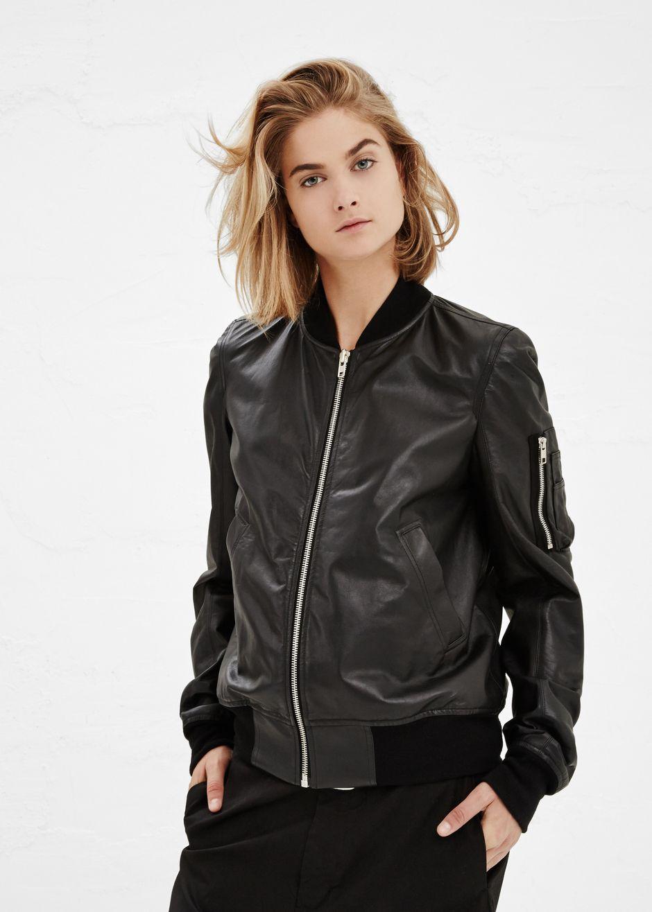 b9c096796 Rick Owens Cropped Leather Bomber Jacket (Black) | Shopping 2 ...