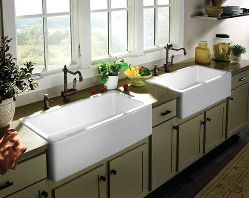 farmhouse kitchens | white farmhouse double sink green kitchen