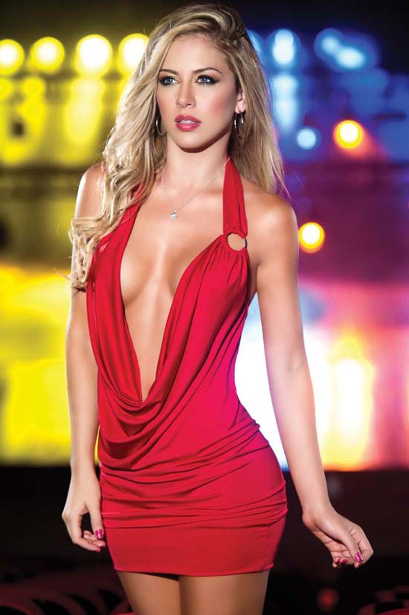 Extreme Low Cut Red Micro Mini Dress  99fe4dc8a