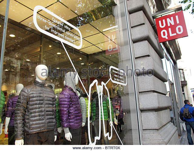uniqlo store logo window display shop stock image