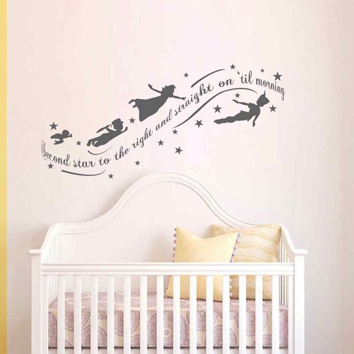 436e7b2e2338 BATTOO Peter Pan Second star to the right and straight on til morning Kids Wall  Decal Sticker Vinyl Murals Nursery Wall Decor-in Wall Stickers from Home ...