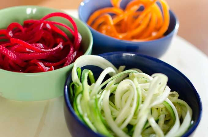 make healthy vegetable noodles with a spiralizer   sweet