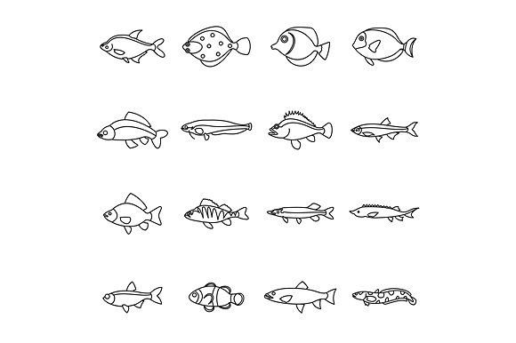 Cute Fish Icons Set Outline Style Small Fish Tattoos Small Forearm Tattoos Cute Fish