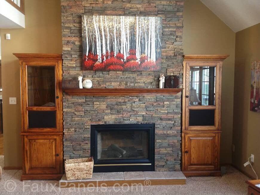 die faux steine verkleidung auf diese kamin surround transformationen ein ansonsten schlicht trockenbau surround - Kamin Im Wohnzimmer Verkleiden